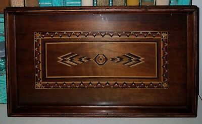 Vintage Antique 1910s Handmade Marquetry Inlaid Wood Native American Style Tray
