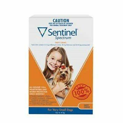 New Sentinel Spectrum Tasty Chews for Very Small Dogs Up to 4kg Pack of 6