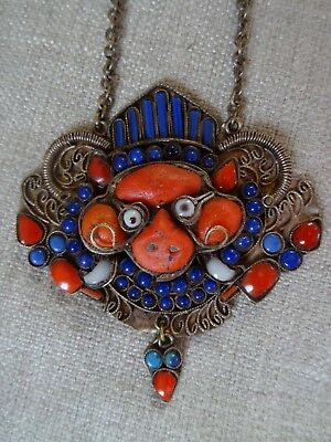 Antique Tibetan Nepalese Foo Dog Pendant Necklace Glass, Coral and Lapis Lazuli