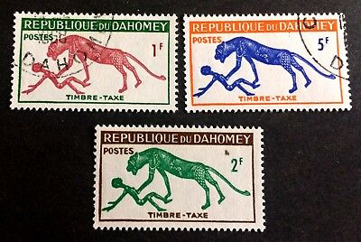 3 wonderful old stamps Timbre Taxe Dahomey