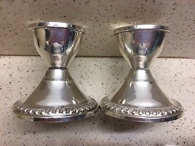 """VINTAGE CROSBY STERLING SILVER CANDLE STICK HOLDERS WEIGHTED 2"""" Base 2 3/4"""" Tall"""