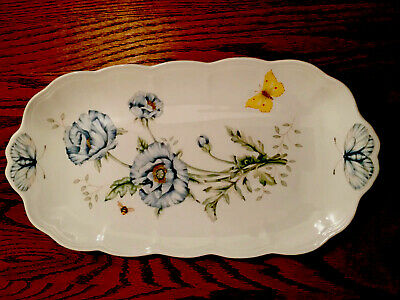 Lenox Butterfly Meadow White Porcelain and Chip Resistant Oblong Sandwich Tray