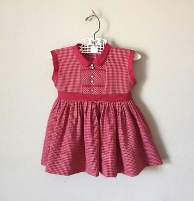 Vintage 1960s Plaid Collar Dress Baby Toddler Girl Handmade 50s 60s Party 1