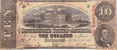CONFEDERATE 1863 2nd SERIES TEN DOLLAR NOTE T59