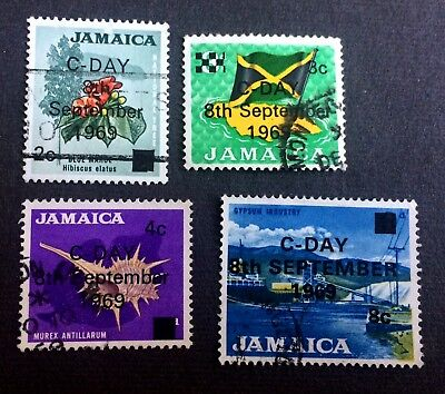 Jamaica C-Day 8th September 1969 - 4 old used stamps