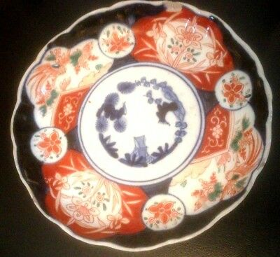 Antique Japanese Imari Porcelain Scalloped Edge Plate / Dish Chip Damage
