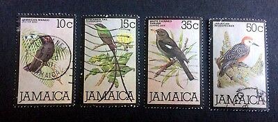 Birds - Jamaica - 4 old used stamps