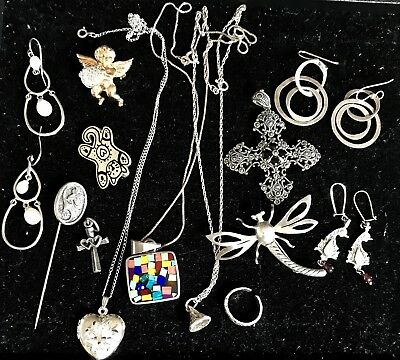 VTG 925 STERLING SILVER MIXED JEWELRY LOT DRAGONFLY LOCKET NECKLACES 73.2g NICE!