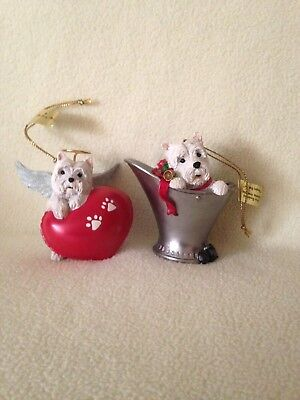 2 Danbury Mint Westie Wonderland Naughty But Nice and Paw-fect Angel with Tags