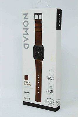 Nomad Horween Leather Watch Strap for Apple Watch 38mm - Brown w/ Black Lugs