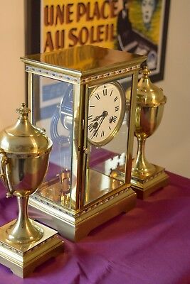 French Four Glass Crystal Regulator Champleve Mantle Clock