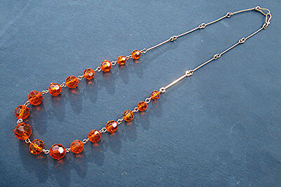 ART DECO NECKLACE RARE ORANGE GLASS BEADS on Rolled Gold Wire VINTAGE 1930s/40s