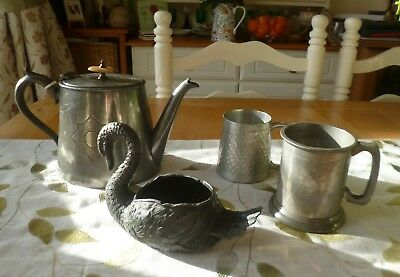 Fantastic Joblot Collection of Antique/Vintage Pewter Items-Teapot, Tankards, Sw