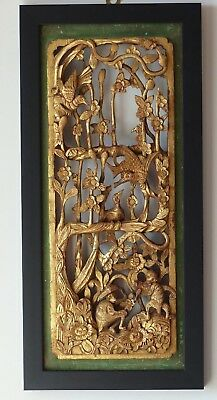 Large Antique Chinese Carved Gilded Wall Panel – Birds / Monkeys + Flowers