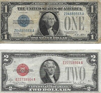 """1928A U.S. """"Funny Back"""", $1.00 Silver Certificate &  1928G $2.00 Red Seal"""