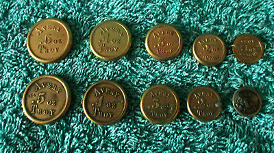 2 sets Avery Victorian/Edwardian brass flat round Troy weights 0.5 to 0.1 oz