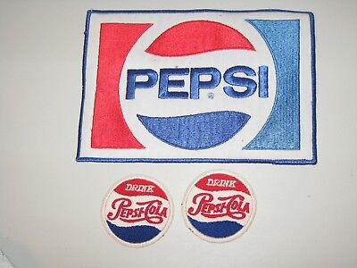 Vintage Pepsi Cola Embroidered Patches - Lot Of 3 - Never Used -