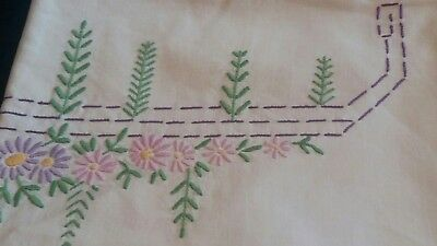2 Vintage White Hand Embroidered Pillowcases Pink/lilac Floral.
