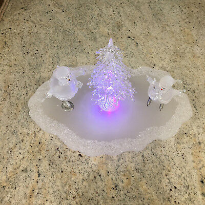 Avon 2002 HOLIDAY SKATING POND Snowman Ice Sculpture Color Changing Light in Box