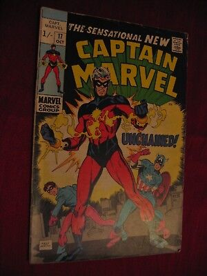 Captain Marvel Vol 1 #17 New costume Rick Jones merger 1969 FN- P&P Discounts