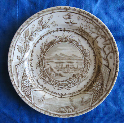 Antique Brown Transferware G.W. Turner, Tunstall, Plate