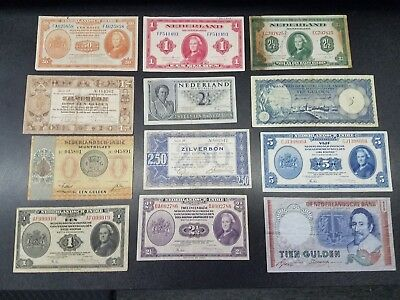 Netherlands Indies Collection 12pcs w/Rare 1962 Antilles 5 Gulden 1938-1953  #43