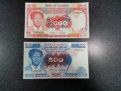 Lot of 2 Banknotes of Uganda 500 1000 Shillings 1983 SPECIMEN UNC   #8