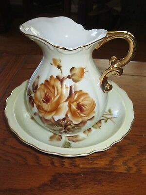 Beautiful Vintage Fall Floral Pitcher and Wash Basin bowl - Norcrest.