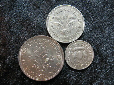 "3 assorted old world coin lot NIGERIA AFRICA 1959 shilling 6 pence ""plants"""