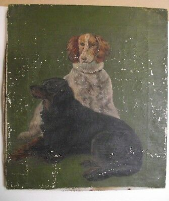 Fabulous Antique Original Oil Painting of two spaniel? dogs for restoration