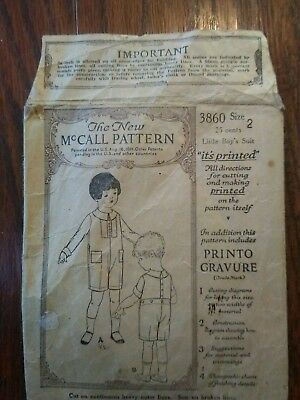 1920s McCall's Sewing Pattern The New McCall Pattern 3860 Little boys suit