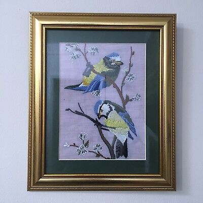 Tapestry / Embroidered Picture - Pair of Blue Tits - Framed - 30 x 25cm