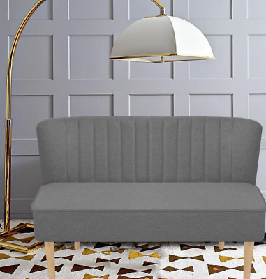 Modern Double 2 Seater Grey Retro Sofa Home Decor Furniture Office Vintage Room