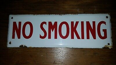 Vintage Old Antique Enamel Porcelain Metal Tin Original No Smoking Sign