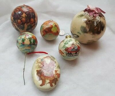 6 Vintage Paper Mache Decoupage Christmas Ornaments Balls Santa Bears Deer Angel