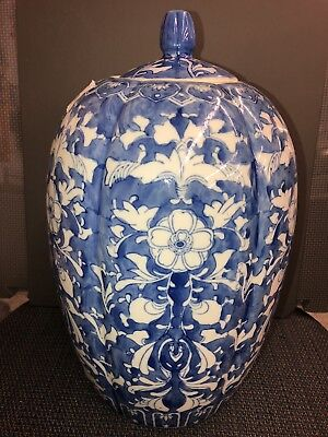 """Vintage Large Blue And White Ginger Jar Approx 15"""" Tall"""