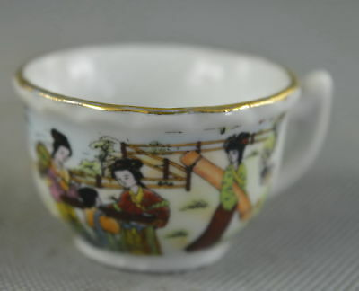 Collectable Porcelain Paint Ancient Belle Dance Imperial Concubine Use Lucky Cup