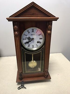 """Vintage Highlands Mechanical Chime Wooden Wall Clock 22.5"""""""