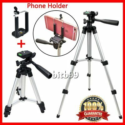 Universal Aluminum Portable Camera Tripod Stand + Holder For Canon Nikon iPhoQC