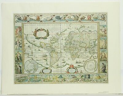 Vintage The World in 1635 Willem Janszoon Blaeu Engraving Reproduction Art Map