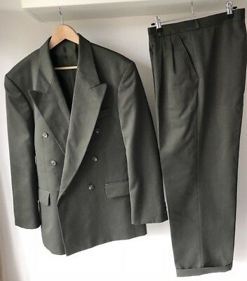 Vintage 1980's dark Green Suit two piece tapering turn up trousers big jacket