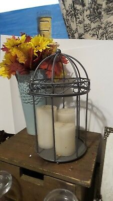 Large Vintage Victorian Style Metal Bird Cage Shabby Primitive Farmhouse Style