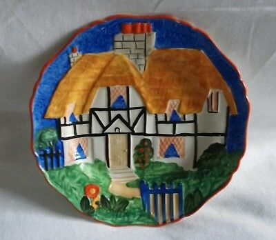 Corona Ware Hancocks  Art Deco Plate Cottage House 1930s Vibrant Colours