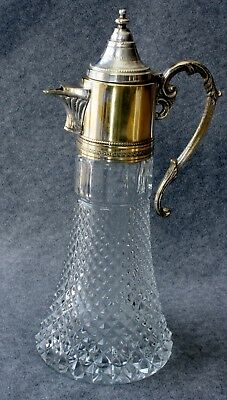 VINTAGE/ANTIQUE Clear Glass & Silver Plate Wine Claret Carafe/Decanter -