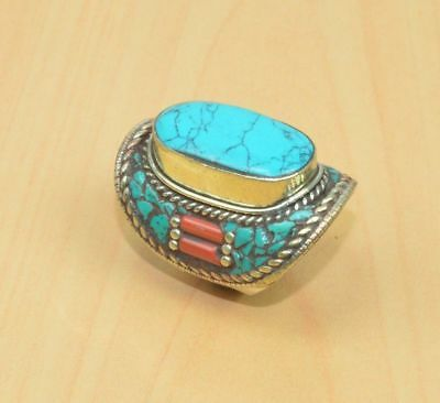 925 Tibetan Silver Turquoise Red Coral  Ring Jewellery G16006