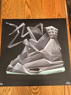 "Signed JCRo KAWS 4 - 20"" Print - Limited Edition 3/23 Air Jordan Sneakerhead Art"