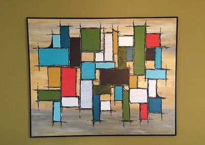 LARGE Mid Century Modern Abstract Art Acrylic Painting Yellow Blue Orange Green
