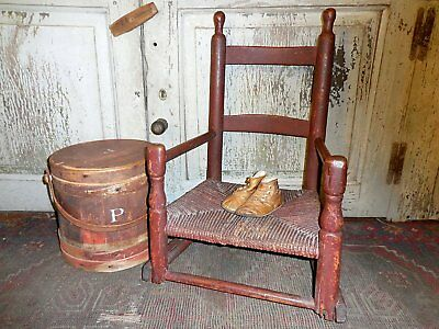 AAFA 18th c Childs Chair Old Red Paint Primitive Rush Seat Slat Back Arm Chair