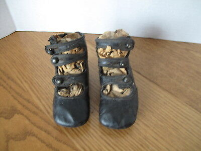 Antique Victorian Button Up High Top Leather Baby Shoes - Black Leather