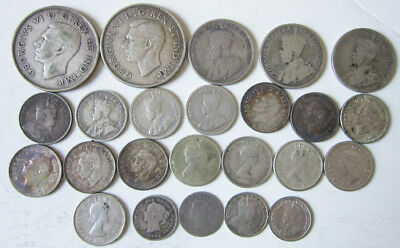 Lot of 24 Canadian silver coins: 19th-20th century